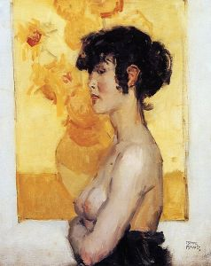 Isaac Israels - Woman before ''Sunflowers'' by van Gogh, 1917